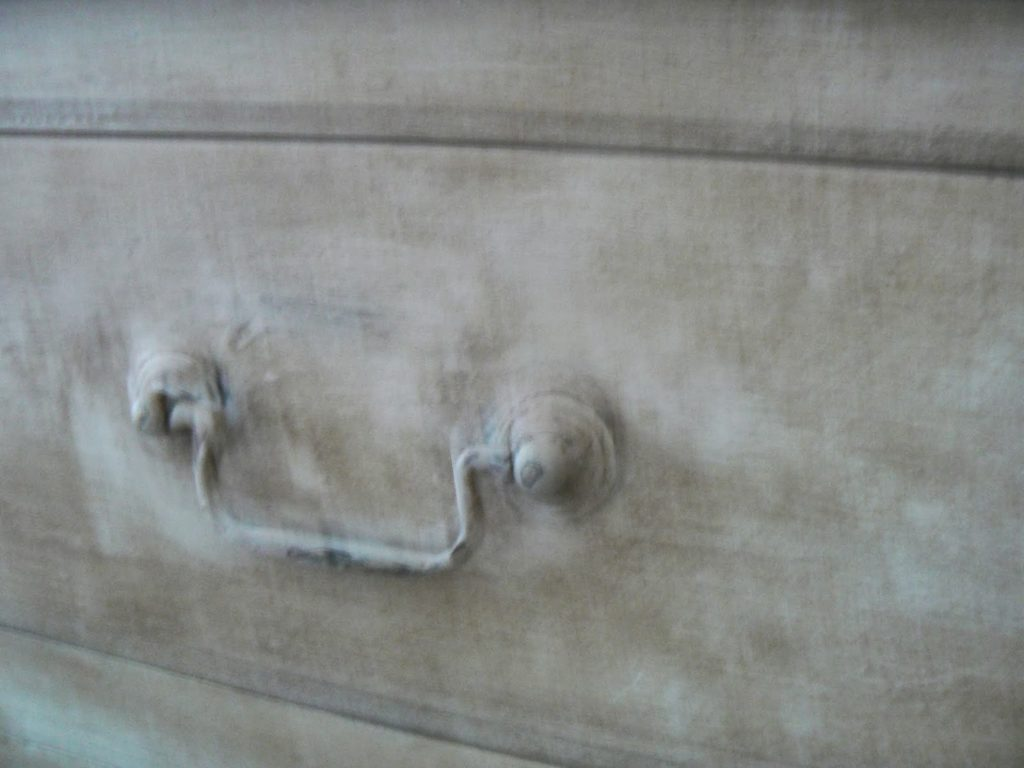 chalk painted handles on dresser