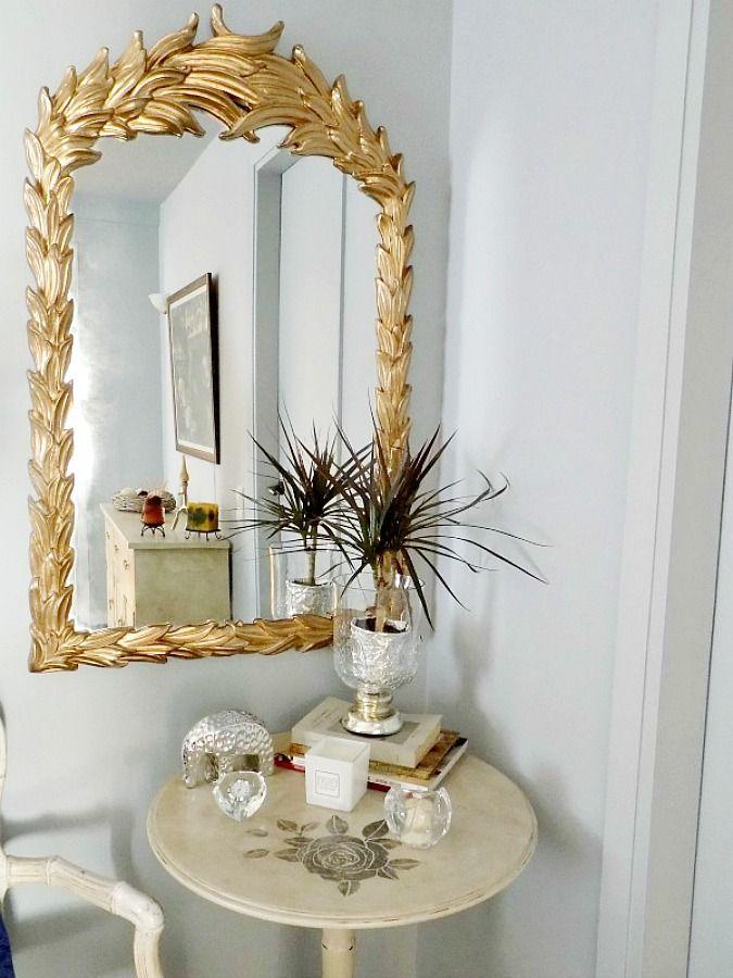 Μεταμόρφωση τραπεζιού με μπογιά κιμωλίας Gold antique mirror round chalk painted table