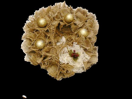 Ρουστίκ στεφάνι από λινάτσα