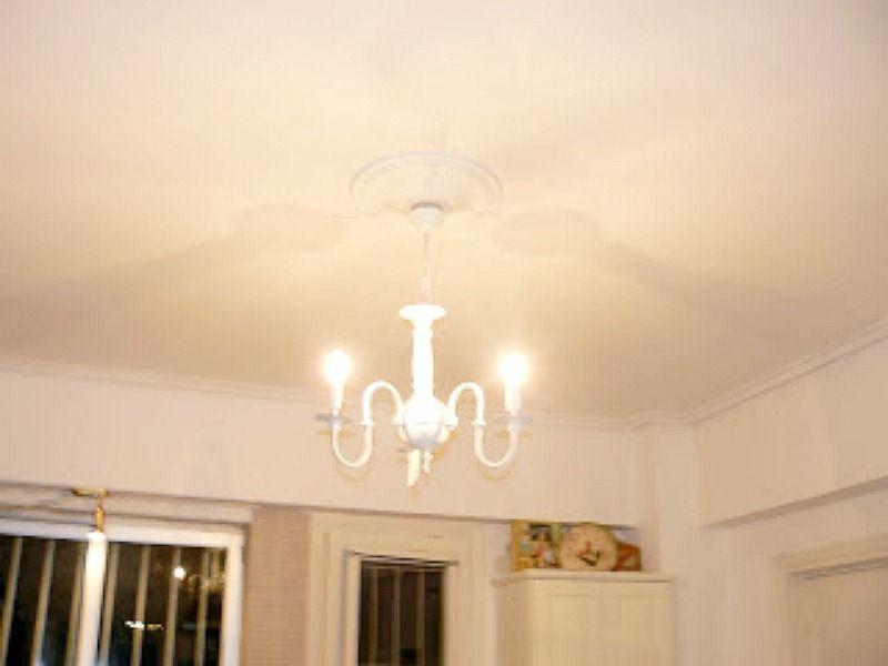 White chandelier in the kitchen