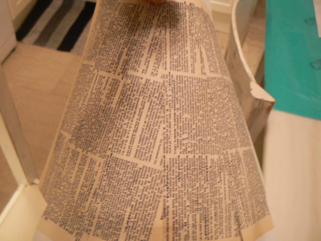 Glued paper on lampshade
