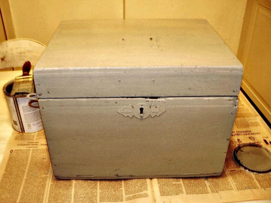 Duck egg blue wooden box