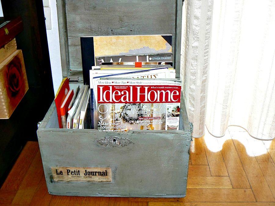 wooden box magazine holder
