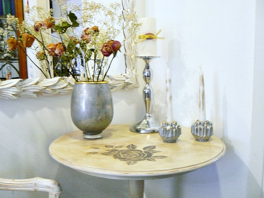 Mercury glass candle holders and flower vase