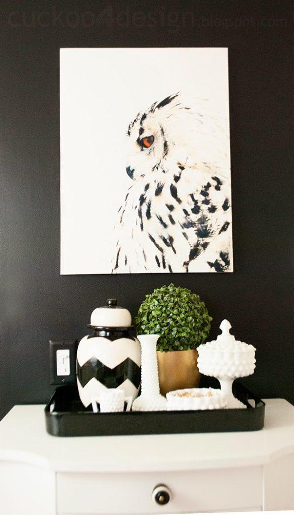 DIY canvas wall art made with owl dishtowel