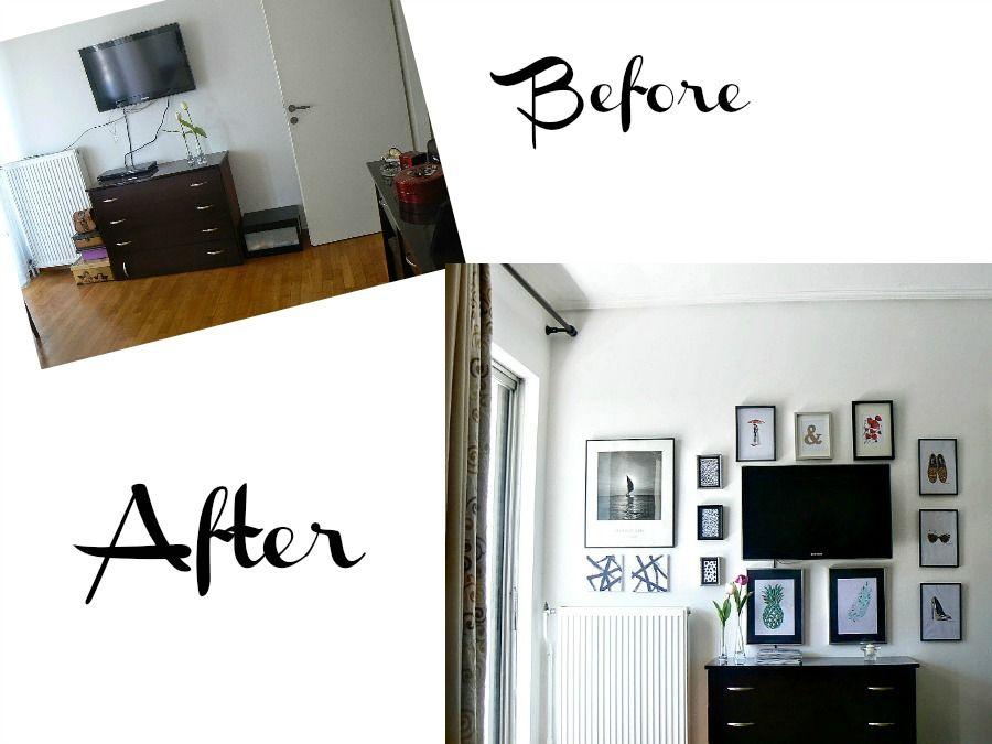 Πως να κρύψεις μία τηλεόραση με μία gallery wall, Before and after of a gallery wall