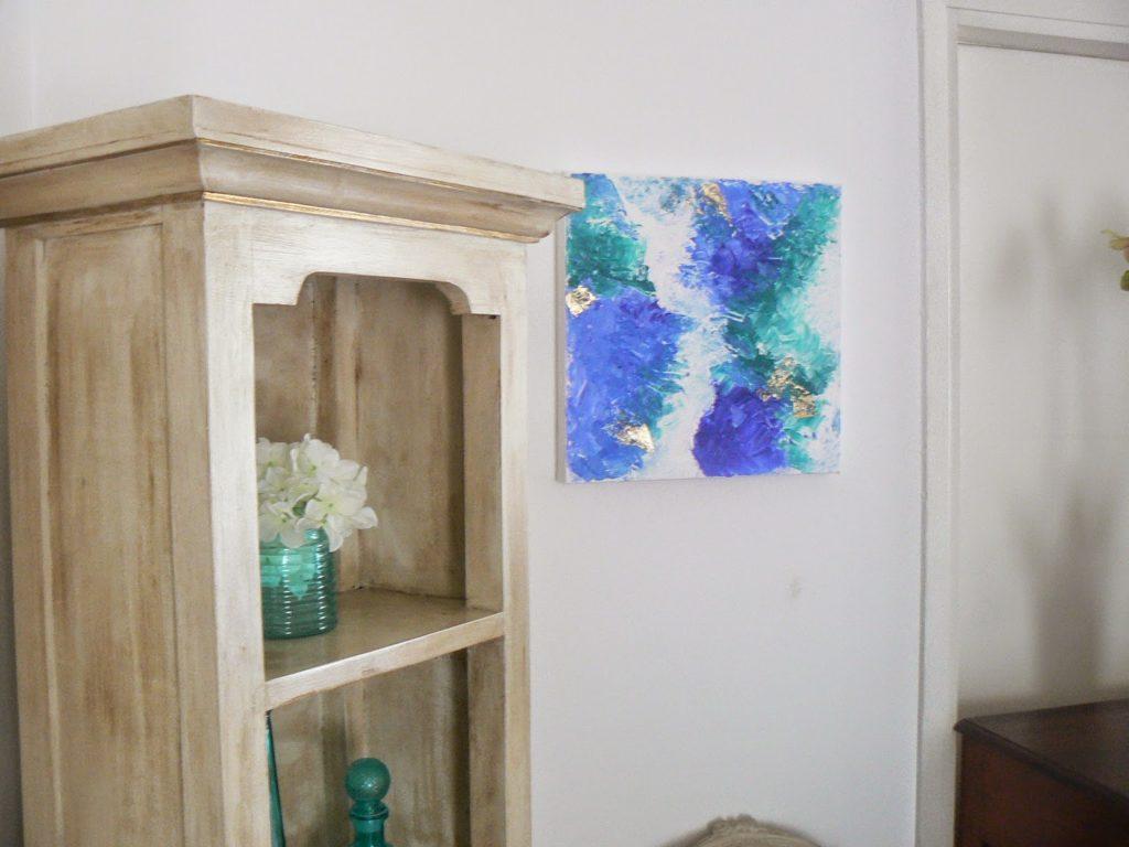 Μπλε και πράσινο με φύλλα χρυσού abstract art