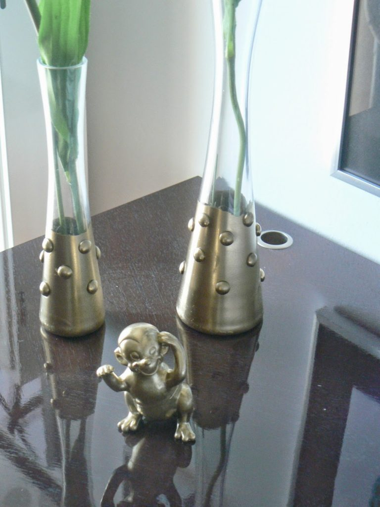 Gold glass vases, gold monkey