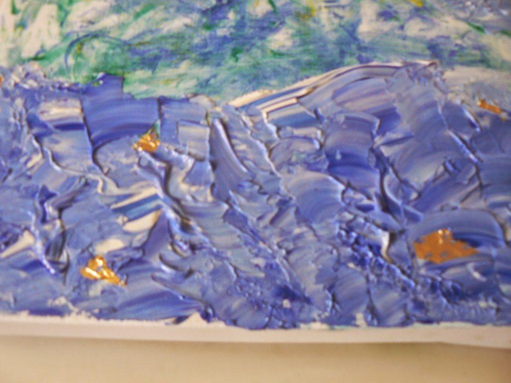 Ζωγραφική με ακρυλικά χρώματα και φύλλο χρυσού