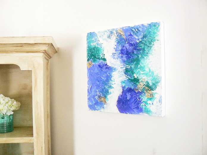 Blue abstract art diy