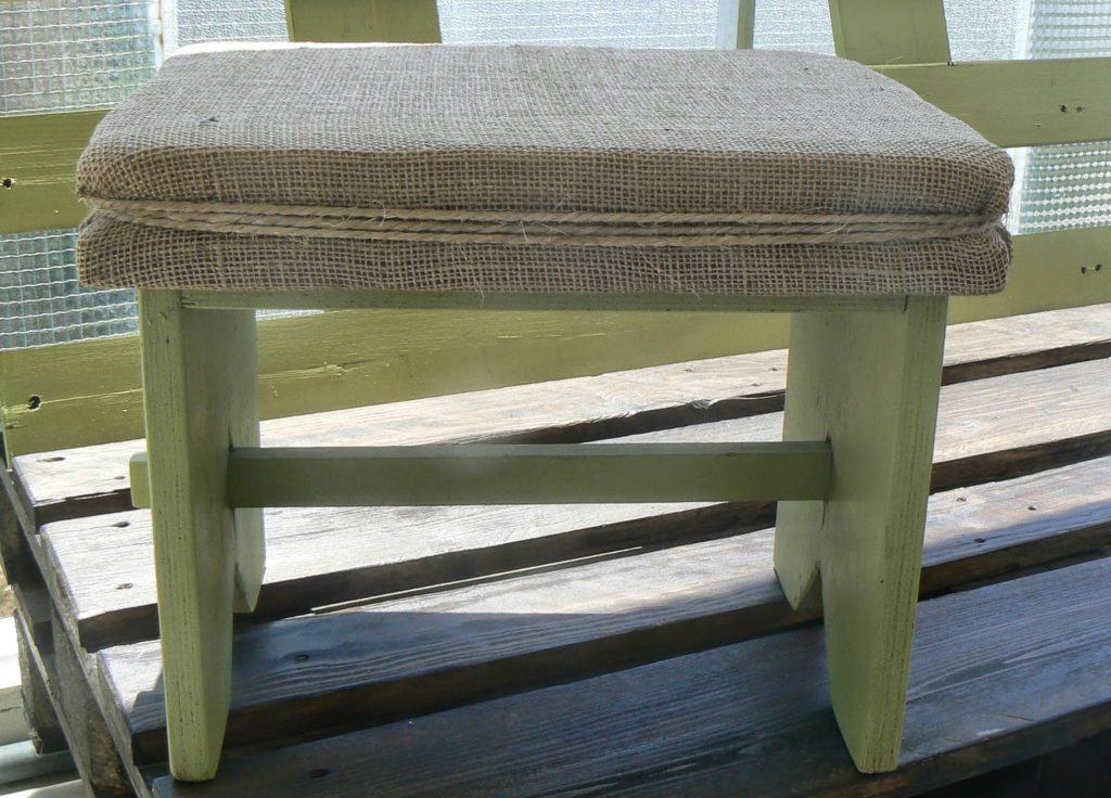 Old wooden stool makeover, burlap seat