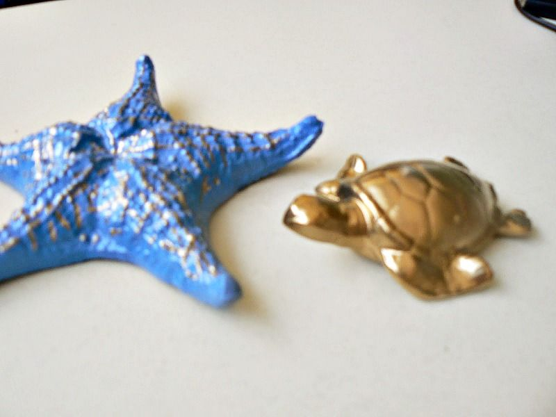 Blue sea star, gold turtle