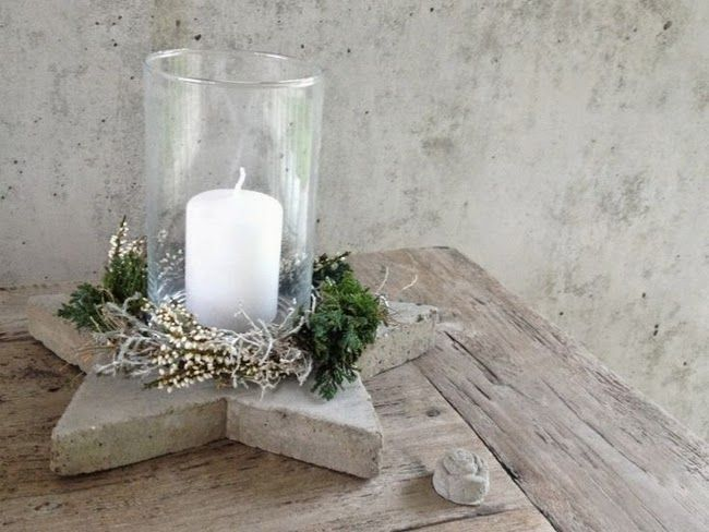 diy concrete base glass candle holder