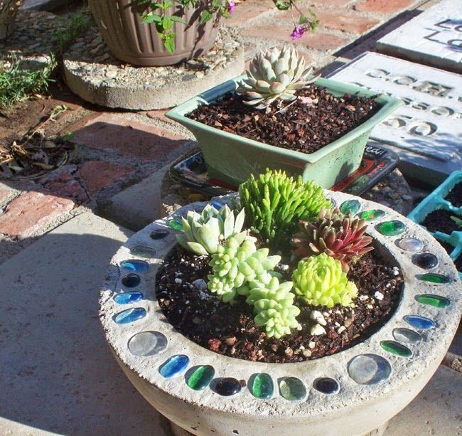 DIY concrete planter glass mosaic decor