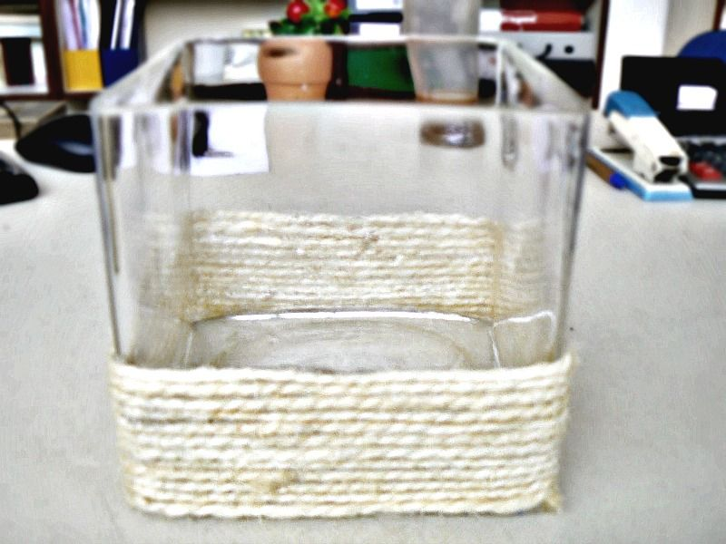 glass pot with rope