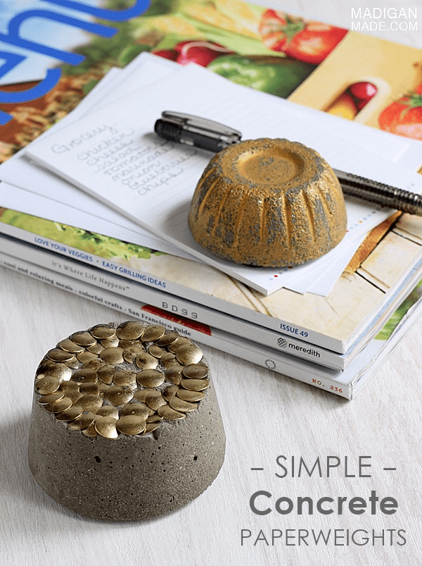 Simple concrete paperweight