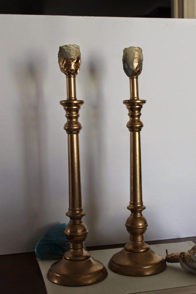 Πως να φτιάξεις φωτιστικά που ξεχωρίζουν, χρυσές βάσεις λάμπας