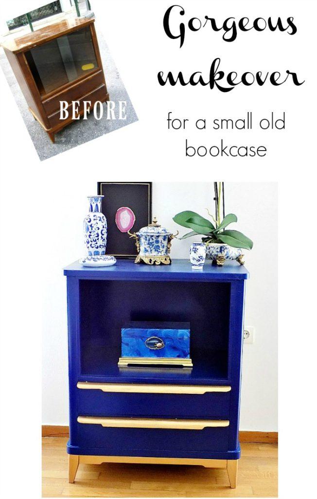 Πως αποφάσισα να μεταμορφώσω ένα παλιό επιπλάκι σε ένα μπλε ντουλάπι για τα βιβλία στην κρεβατοκάμαρα μου | Gorgeous makeover for a small old bookcase