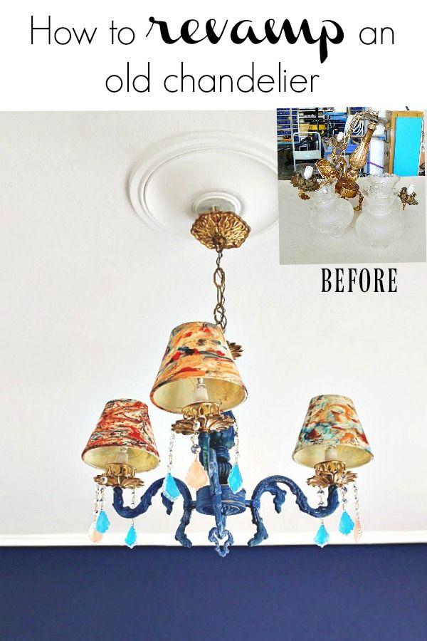 Ένα παλιό φωτιστικό που βρήκα στα σκουπίδια και η μεταμόρφωση του, πως από σκουπίδι έγινε κόσμημα και στόλισε την μπλε κρεβατοκάμαρα μου | How to revamp an old chandelier