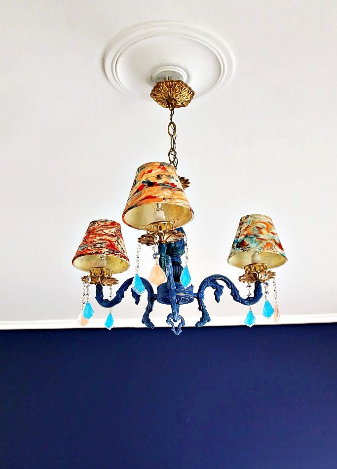 Blue renovated chandellier
