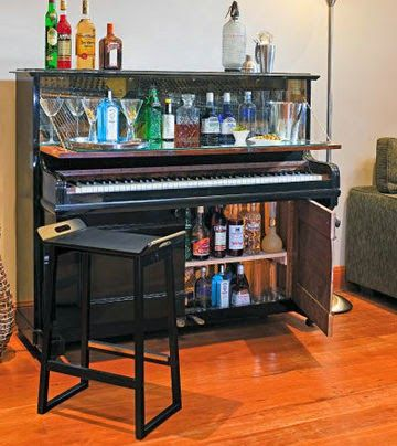 Upcycled piano turned into a bar