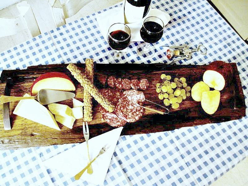 Wooden tray for cheese and wine