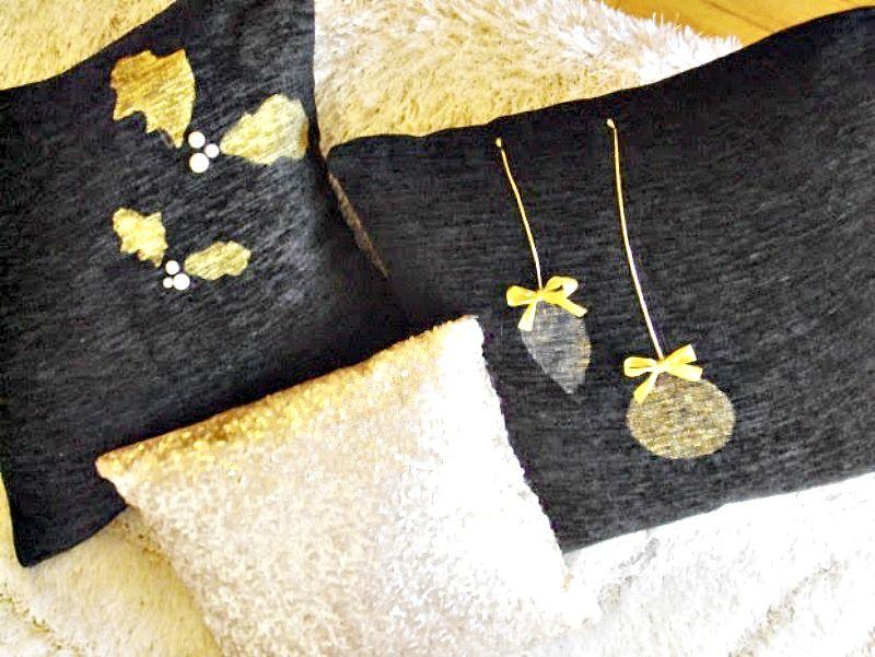 Black and gold christmas pillows diy