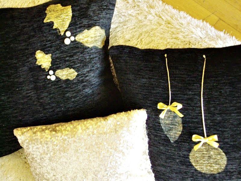 Μαύρο με χρυσό διακοσμητικές θήκες μαξιλαριών για τα Χριστούγεννα