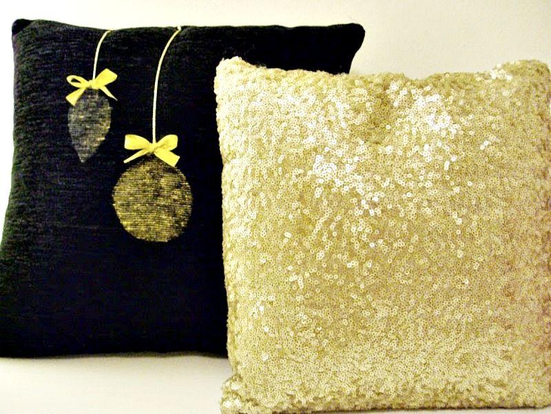 Χριστουγεννιάτικα μαξιλάρια σε μαύρο και χρυσό χρώμα