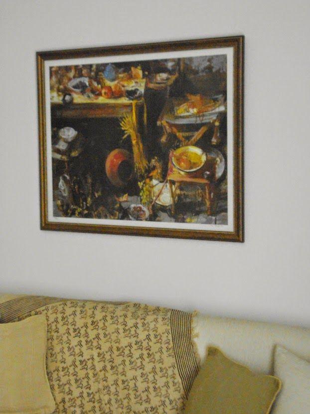 Φθινοπωρινή διακόσμηση και πίνακας στο τοίχο με φθινοπωρινό θέμα