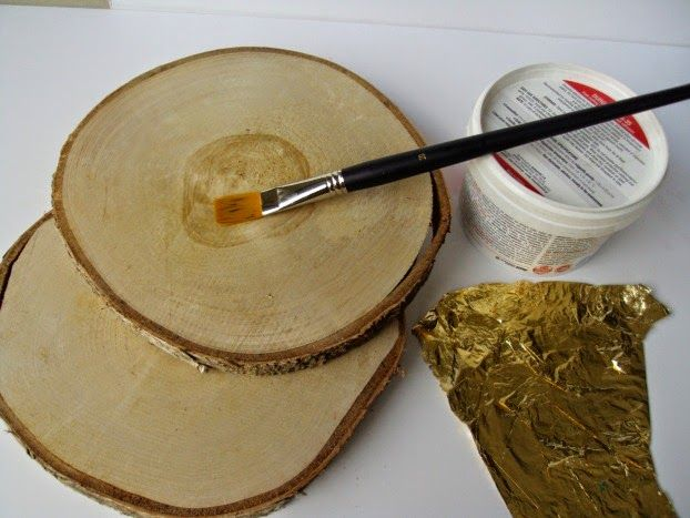 Φέτες ξύλου με φύλλο χρυσού