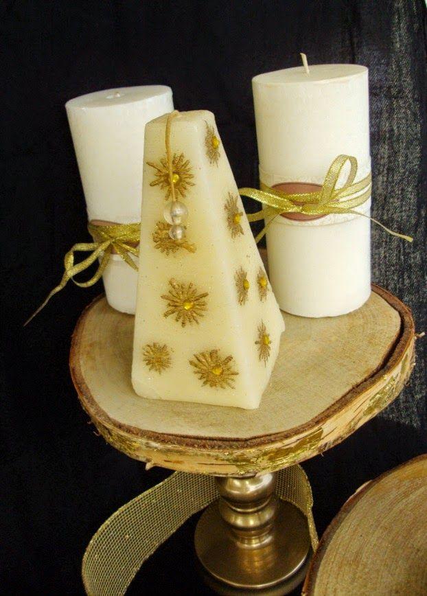 Cake stand από φέτες ξύλου, κεριά