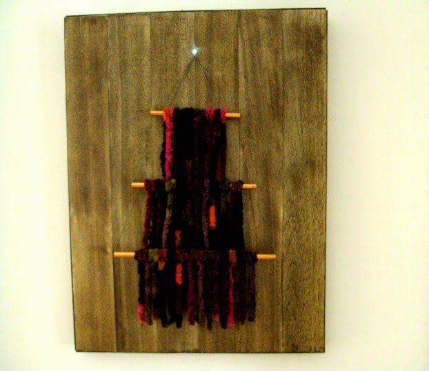 Yarn christmas tree on canvas