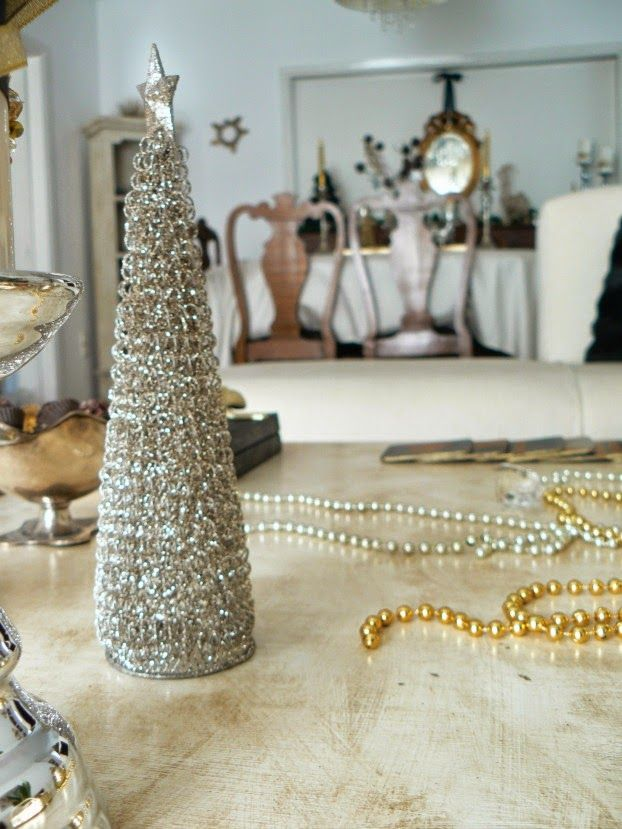 Silver christmas tree coffee table decor