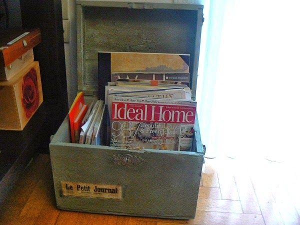 Παλιό ξύλινο κουτί γίνεται θήκη για περιοδικά