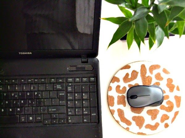 Cork stenciled mousepad, laptop, bamboo plant