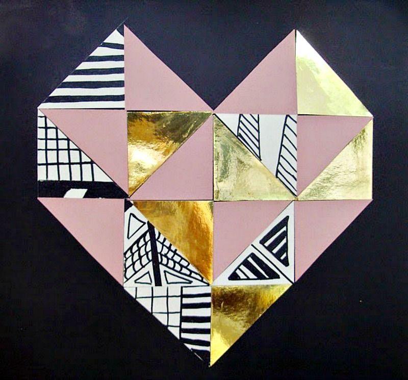 Γεωμετρική καρδιά από χρωματιστά χαρτόνια