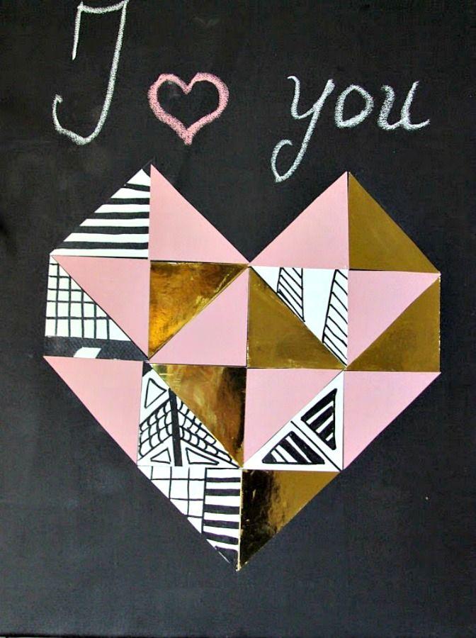 Γεωμετρική καρδιά από χρωματιστά χαρτόνια, δώρο για τον Αγ. Βαλεντίνο