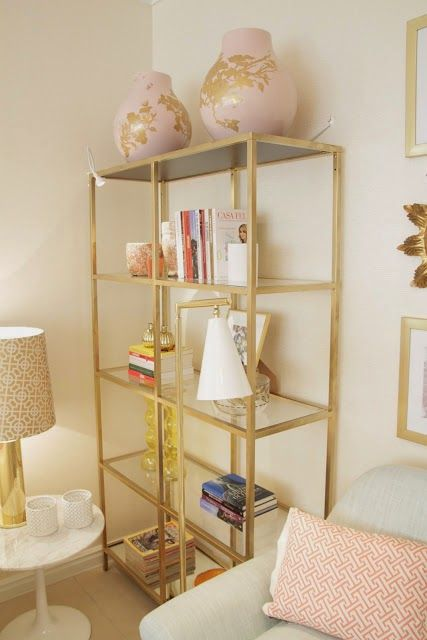 Gold Ikea vittsjo with pink decor