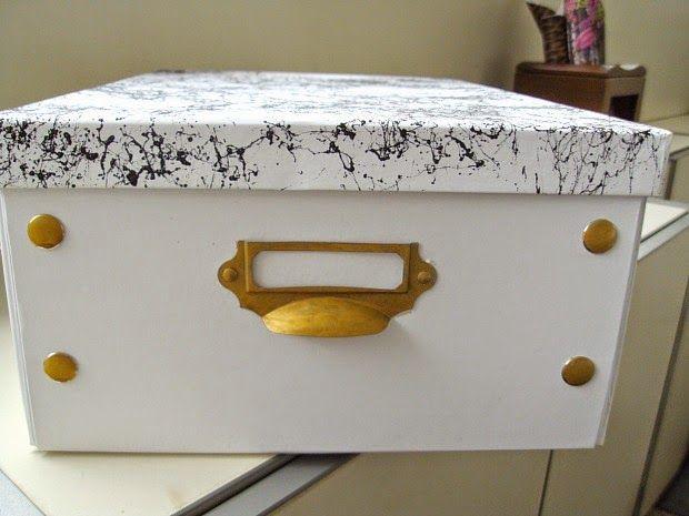 Κουτιά αποθήκευσης με εφέ μαρμάρου και χρυσά μεταλλικά στοιχεία