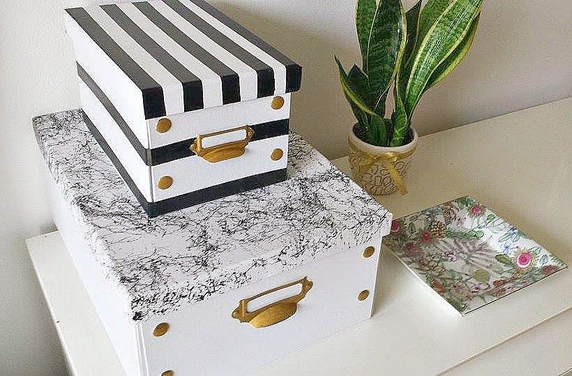 Black and white storage boxes diy