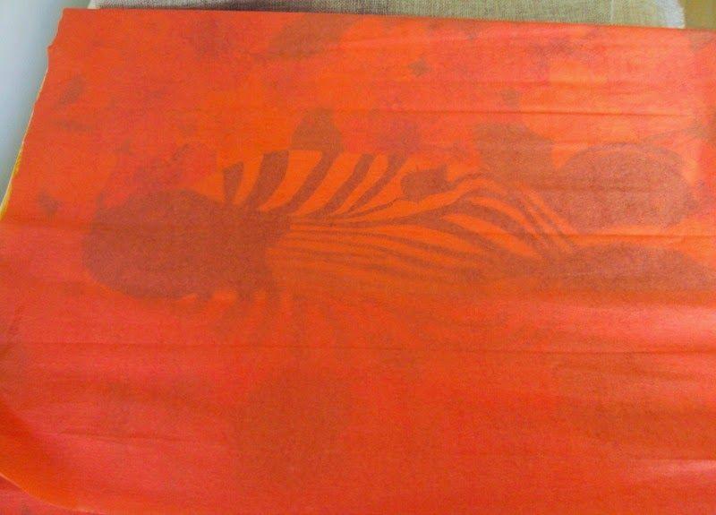 Orange paper wrapped art