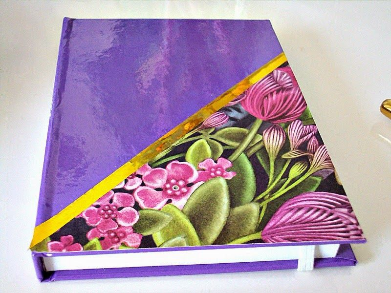 Purple, gold and floral notebook