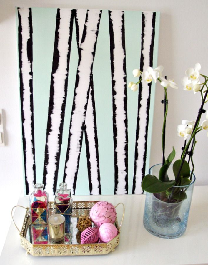 Wall art birches diy