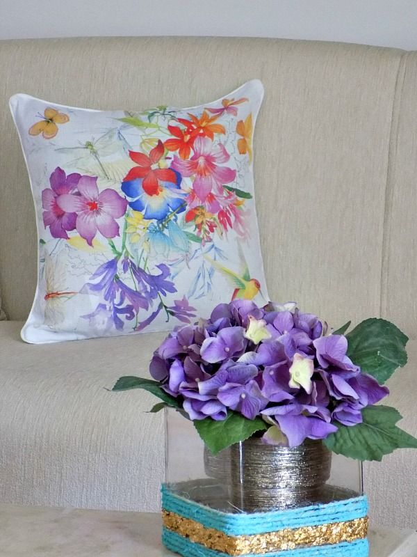 Faux flowers floral pillow