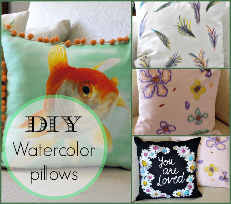 diy watercolor pillows