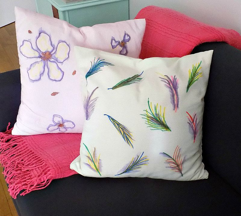 Watercolor pillows diy