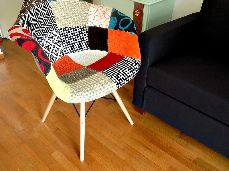 Replica Eames patchwork chair, Ikea sofa bed