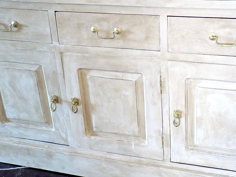 chalk painted dresser, gold handles