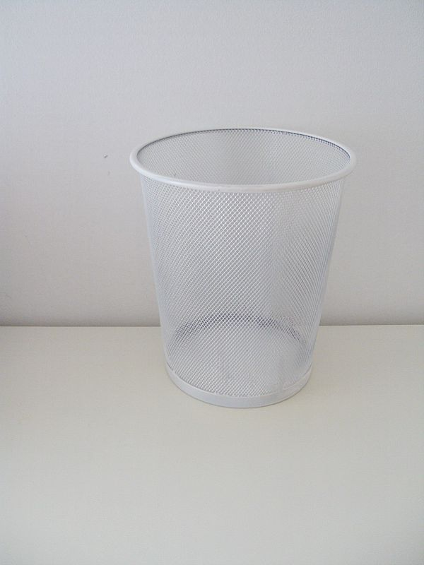 White wastebasket